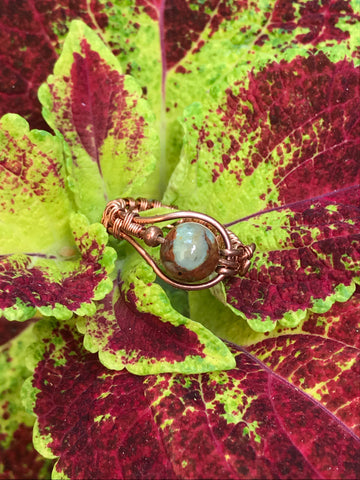 African Green Opal Ring in copper - size 7