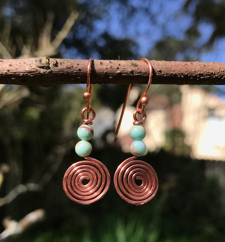 Coiled Copper and Sea Sediment Jasper Earrings