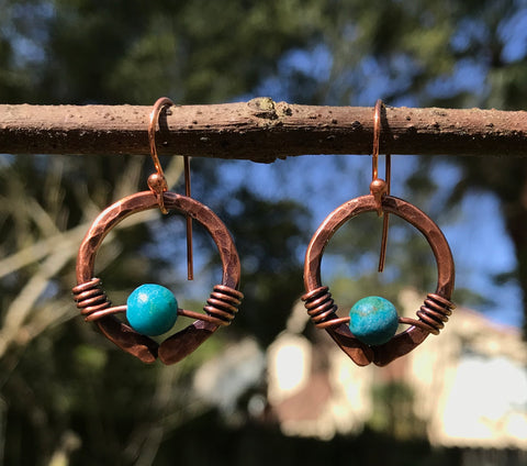 Copper Circle and Chrysocolla Earrings