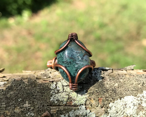 Moss Agate and Copper Ring - size 7