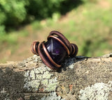 Amethyst and Copper Ring - Size 5