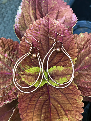 Hammered Copper and Bronze Earrings