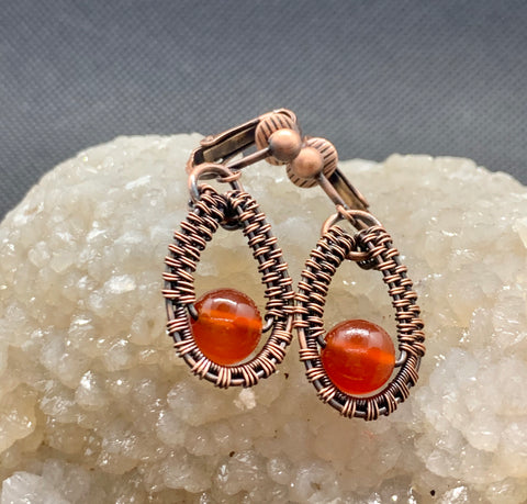 Carnelian and Copper Clip On Earrings