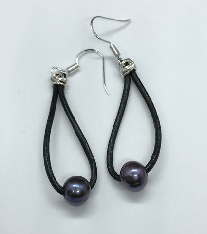 Pearl and Leather Earrings in Sterling Silver