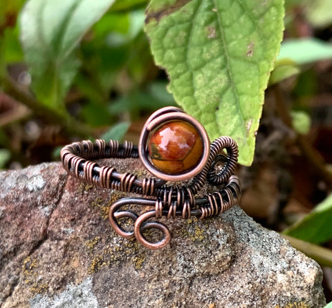 Picasso Jasper and Copper Ring - size 9