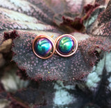 Rainbow Glass and Copper Stud Earrings