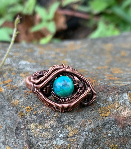 Chrysocolla and Copper Ring - Size 7