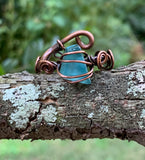 Provocative Mosaic Glass and Copper Ring - adjustable