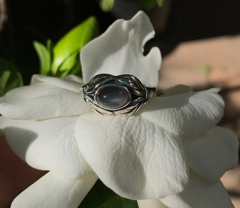 TImeless Gray Moonstone in Sterling Silver - size 7