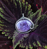 Stunning Purple Charoite Pendant in woven Sterling Silver