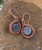 Calsilica and Woven Copper Earrings
