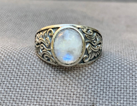Sterling Silver and Moonstone Ring - adjustable