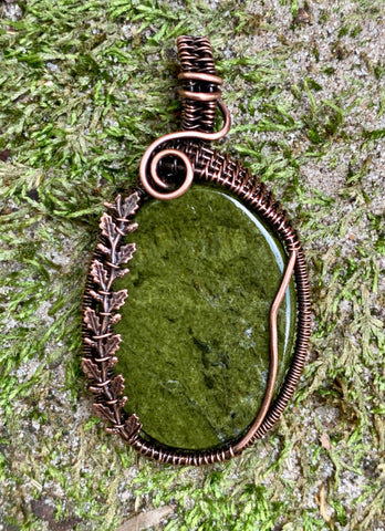 Moss Agate in Copper with Copper Leaf Accents