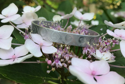 Etched Aluminum Cuff - Rolling waves