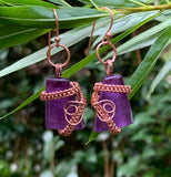 Purple Glass and Copper Earrings