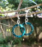 Hand Stamped and Hand Painted Aluminum Earrings