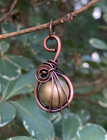 Brass Harmony Bell Pendant wrapped in Copper
