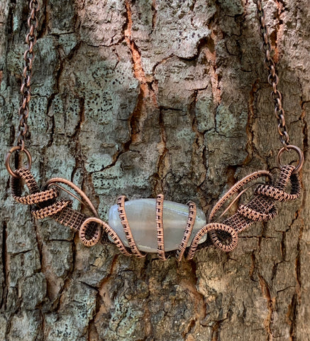 Agate and Woven Copper Necklace
