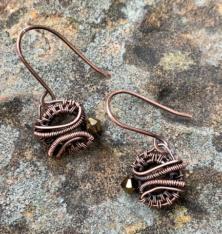 Woven Copper and Crystal Earrings