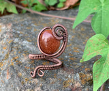 Goldstone and Copper Ring - Adjustable