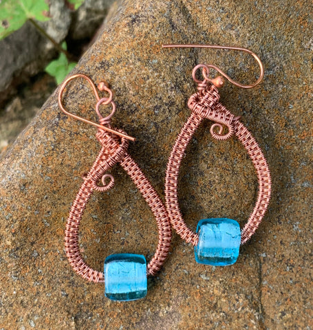Blue Foil Glass and Copper Earrings
