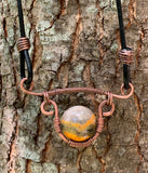 Bumble Bee Jasper, Copper, and Leather Necklace