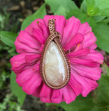 Morganite in Woven Copper Pendant