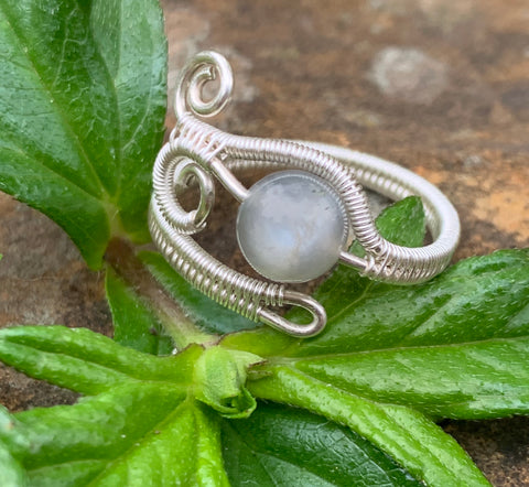 Gray Moonstone Ring in Sterling and Fine Silver- adjustable