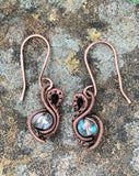 Woven Copper and Iridescent Glass Earrings