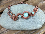 Aquamarine and Sea Sediment Jasper bracelet in copper - adjustable