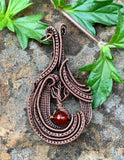 Woven Copper Tree Pendant with Carnelian