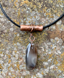 Agate, Copper and Leather Necklace