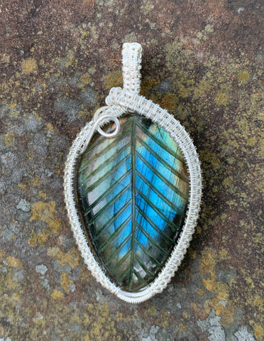 Carved Labradorite Pendant in Sterling Silver