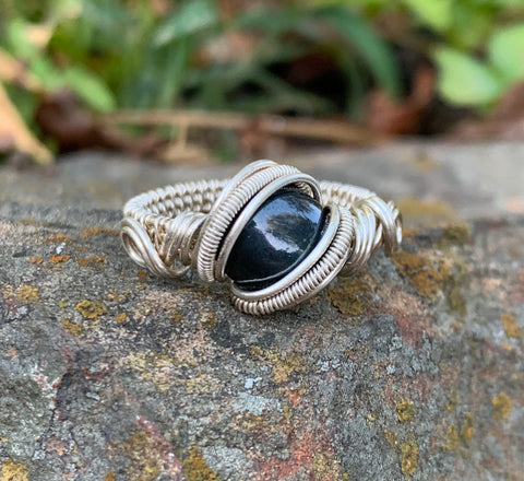 Sterling Silver and Hematite Ring - Size 9 1/2