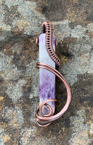 Raw Amethyst Stick Pendant wrapped in Copper