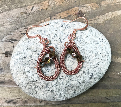 Sparkling Woven Copper and Glass Bead Earrings