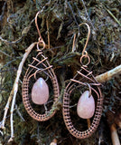 Woven Copper and Quartz Earrings
