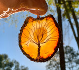 Raw Agate Sun Catcher Tree of Life in Copper