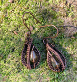Woven Copper and Crystal Drop Earrings
