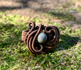 Venus Jasper and wire wrapped Copper Ring - Size 5