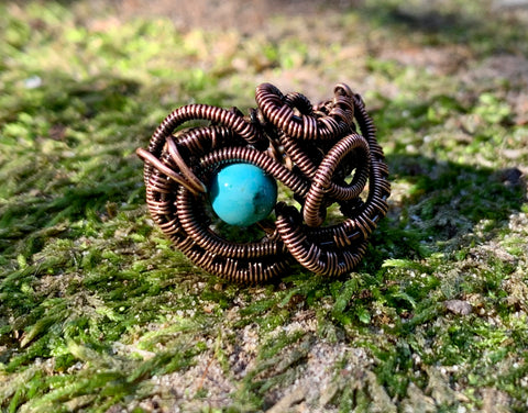 Handwove Copper and Turquoise Ring - Size 4