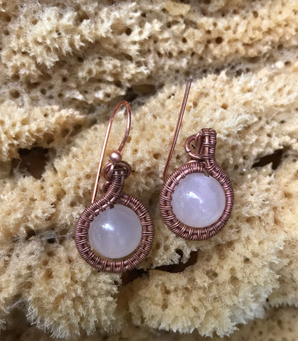 Wire Wrapped Copper and Rose Quartz Earrings