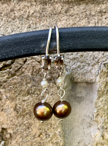 Smoky Quartz and Pearl Sterling Silver Earrings