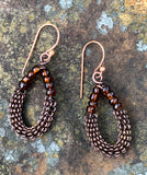 Coiled Copper and Glass Earrings