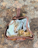 Raw Polished Agate Slice Pendant in Copper