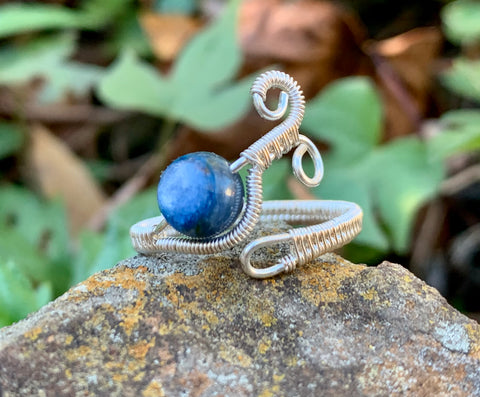 Exquisite Kyanite, Sterling and Fine Silver Ring - adjustable