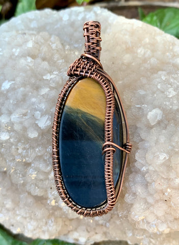 wire wrapped Blue and Gold Tiger Eye Pendant