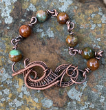 African Green Opal and Copper Bracelet - 7 1/4""