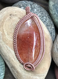 Strawberry Quartz wrapped in Copper