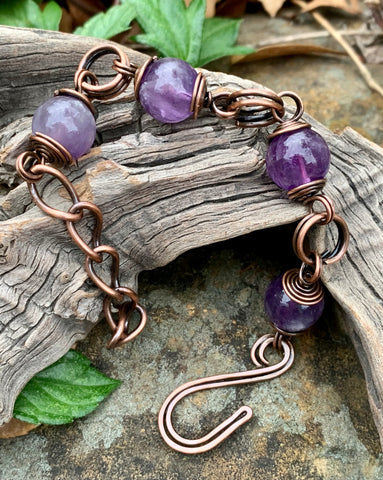 Handmade Adjustable Amethyst and Copper Bracelet